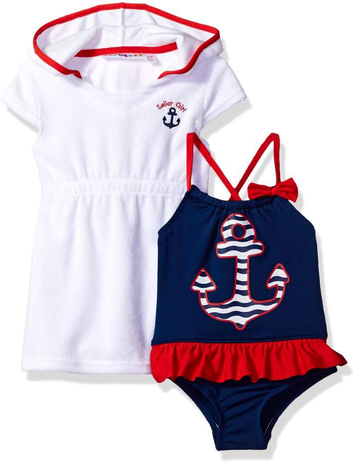 Wippette Baby Girls Anchor Once Piece Swimsuit Beach Terry Dress Cover Up Set