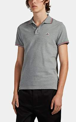 Moncler Men's Stripe-Tipped Cotton Piqué Polo Shirt - Gray
