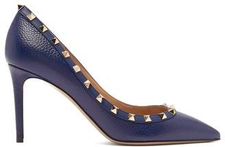 Valentino Rockstud Grained Leather Pumps - Womens - Navy