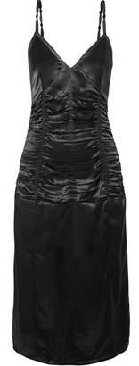 Helmut Lang Ruched Satin Midi Dress - Black