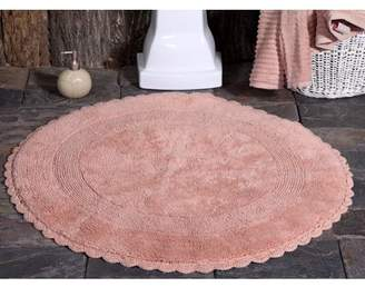 Saffron Fabs Bath Rug 100% Soft Cotton 36 Inch Round 200 GSF Reversible Hand Woven Crochet Lace Border