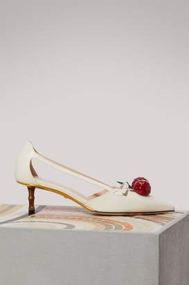 Gucci Leather cherry pumps