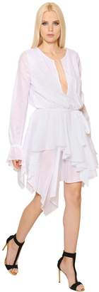 Alexandre Vauthier Long Sleeve Ruffled Cotton Voile Dress