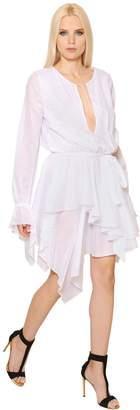 Alexandre Vauthier Long Sleeve Ruffled Cotton Voile Dress