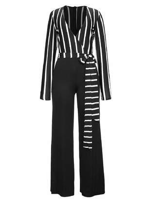 6098c7a36e0 Zimase Women s Pinstripe Tunic High-Waisted Fashional Playsuit Jumpsuit L