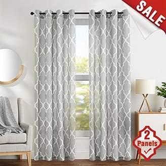 "Blend of America jinchan Grey Moroccan Tile Print Curtains for Bedroom Curtain - Quatrefoil Flax Linen Textured Geometry Lattice Grommet Window Treatment Set for Living Room - 50"" W x 63"" L - (2 Panels)"