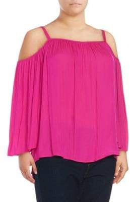 Vince Camuto Plus Shirred Cold-Shoulder Top