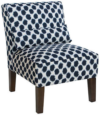 One Kings Lane Bergman Armless Accent Chair - Indigo Dot