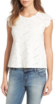 Women's Lucky Brand Flutter Sleeve Eyelet Top $59.50 thestylecure.com