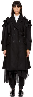 Simone Rocha Black Wool Bows Belted Coat
