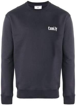 Ami Alexandre Mattiussi Crewneck Sweatshirt White Family Embroidery