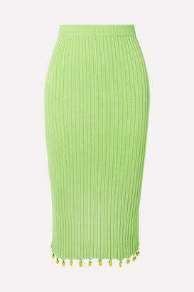 STAUD Costa Embellished Ribbed Cotton Midi Skirt - Light green