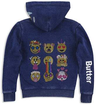 Butter Shoes Girls' Zip-Up Embellished Emoji Hoodie - Little Kid
