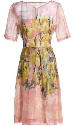 Lela Rose Floral-Print Silk-Blend Gazar Dress
