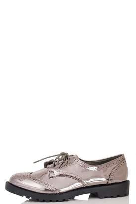 Quiz Pewter Metallic Brogue Shoes