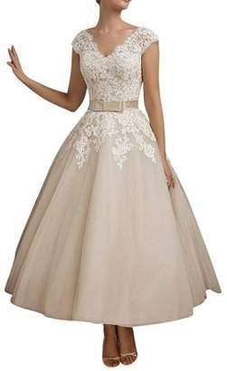 Lava-ring Women's A-Line V-Neck V-Back Lace Applique Tea Length Wedding Dress