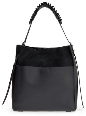 Allsaints Maya North/south Calfskin Tote - Black $348 thestylecure.com