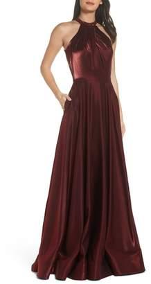 La Femme Beaded Halter Neck A-Line Gown