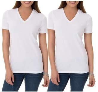 Time and Tru Women's V-Neck Short Sleeve T-Shirt, 2 Pack Bundle