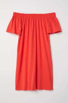 H&M Off-the-shoulder Cotton Dress - White/striped - Women