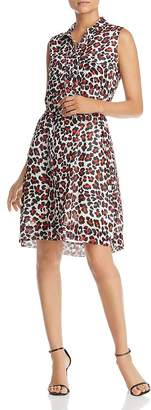 T Tahari Leopard-Print Shirt Dress