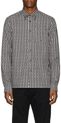 Prada Men's Studded Geometric-Print Cotton Shirt