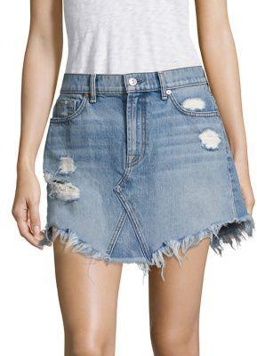 7 For All Mankind Vintage Wythe Distressed Denim Skirt $189 thestylecure.com