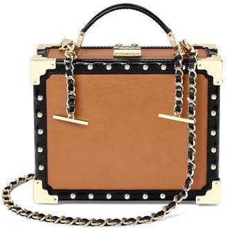 Aspinal of London Mini Trunk Clutch In Smooth Tan With Studs