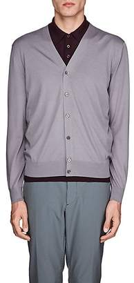 Prada Men's Virgin Wool V-Neck Cardigan - Gray