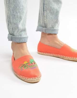 Asos Design DESIGN espadrilles in orange with embroidery