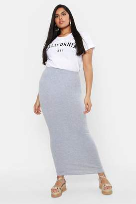 boohoo Plus Jersey Maxi Tube Skirt