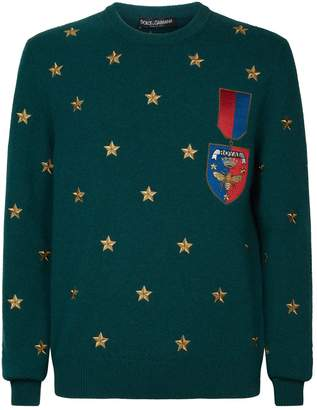 Dolce & Gabbana Cashmere Star Embroidered Sweater
