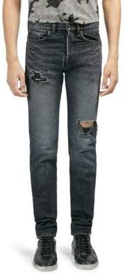 Saint Laurent Distressed Slim-Fit Jeans