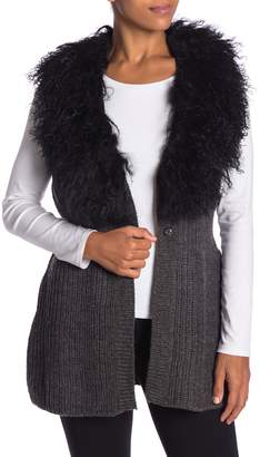 Dolce Cabo Genuine Mongolian Lamb Fur Collar Wool Blend Vest