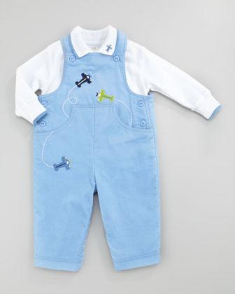 Florence Eiseman Flying Colors Corduroy Overalls, Medium Blue, 3-9 Months