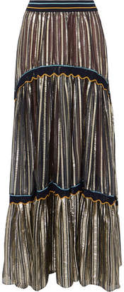 Peter Pilotto Striped Metallic Silk-blend Chiffon Maxi Skirt - Gold