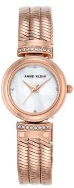 Anne Klein Rose Goldtone Bracelet Crystal Watch