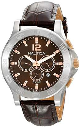 "Nautica Unisex N22620G NCS 801 ""Classic"" Stainless Steel Watch with Brown Leather Band"