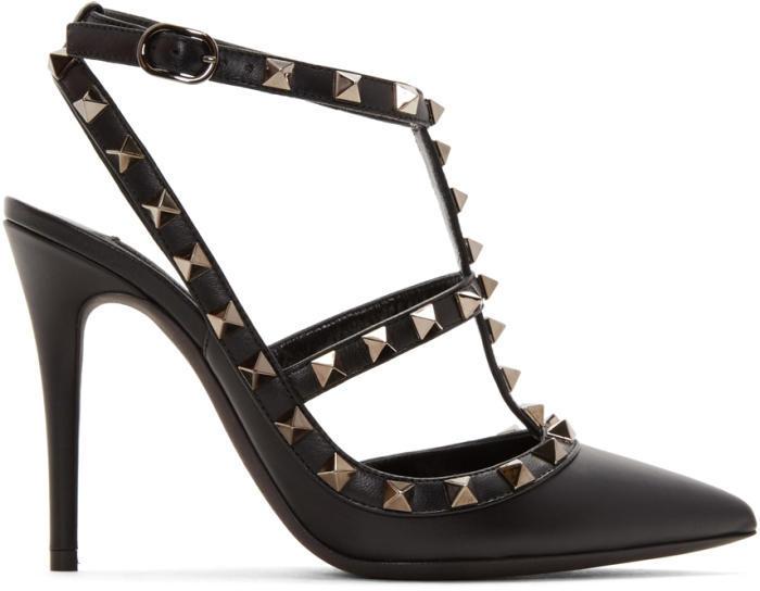Valentino Black Valentino Garavani Rockstud Noir Cage Heels