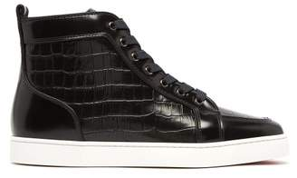 a84c61c75b1f Christian Louboutin Rantus Crocodile Effect High Top Leather Trainers - Mens  - Black