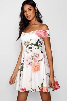 boohoo Floral Print Off Shoulder Skater Dress