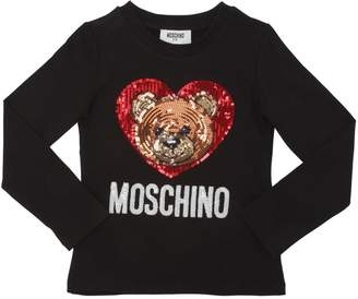Moschino Sequined Cotton Jersey T-Shirt