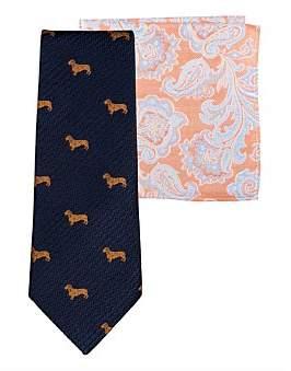 James Harper Dog Tie & Paisley Pocket Square