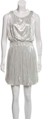 Fendi Ruffled Mini Dress Silver Ruffled Mini Dress