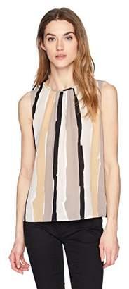 Nine West Women's Striped Short Sleeve Blouse with Pleats