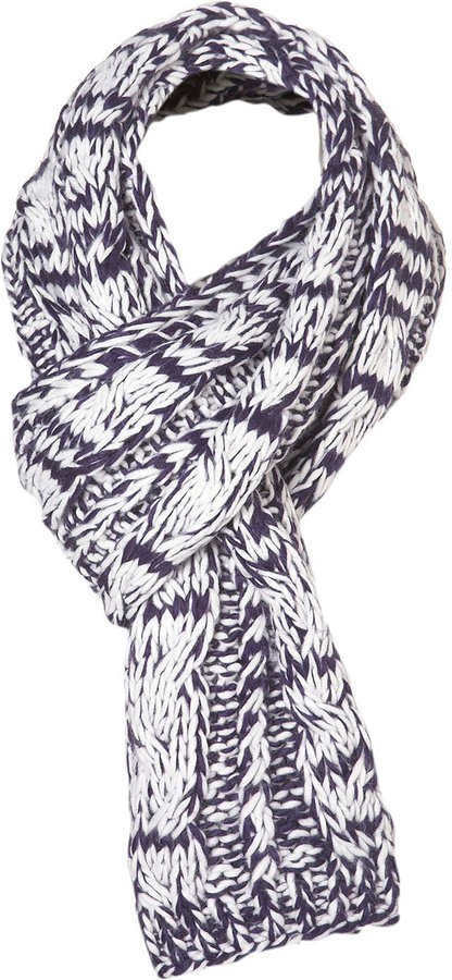 Topman Navy And White Knit Scarf