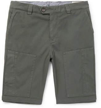 Brunello Cucinelli Stretch-Cotton Twill Shorts - Men - Green