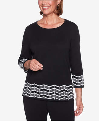 Alfred Dunner Petite Zigzag Border Sweater
