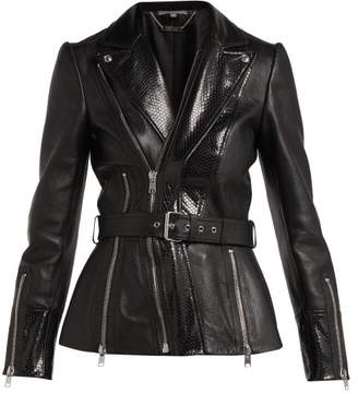 Alexander McQueen Python Effect Leather Jacket - Womens - Black
