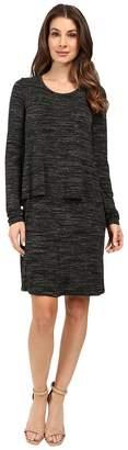 Mod-o-doc Space Dye Rayon Spandex Jersey Long Sleeve T-Shirt Overlay Dress Women's Dress